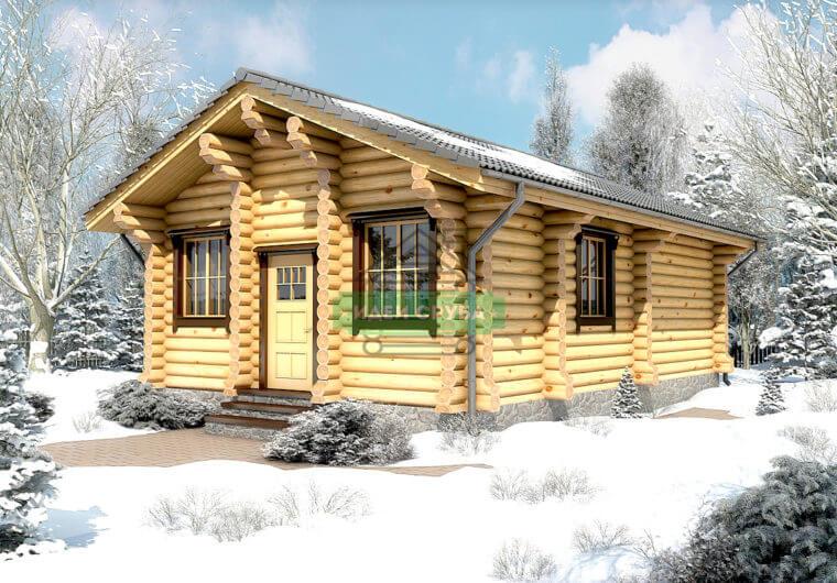 Снежная долина Дома из бревна