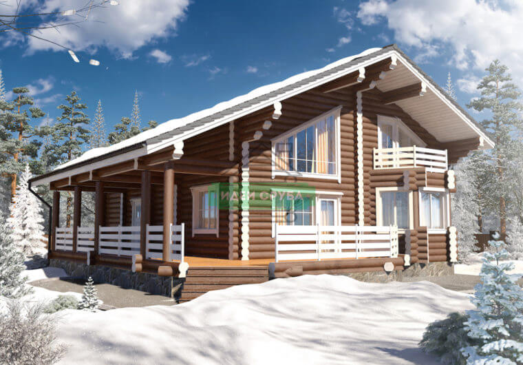 Зимняя сказка Дома из бревна
